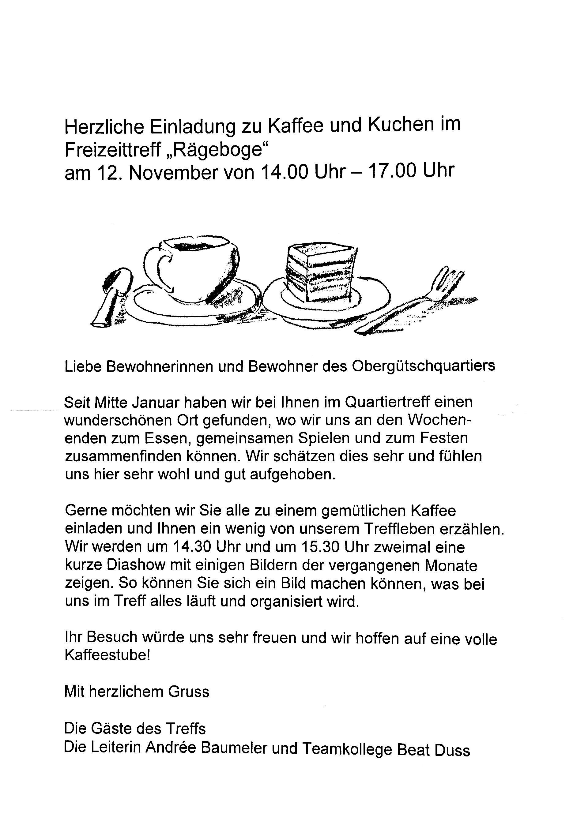 kaffee und kuchen mit dem freizeittreff rägeboge für alle im, Einladung